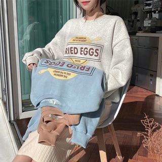 icecream12 - 'FRIED EGGS' Printed Fleece-Lined Sweatshirt
