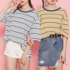 Ashlee - Stripe Elbow-Sleeve T-shirt