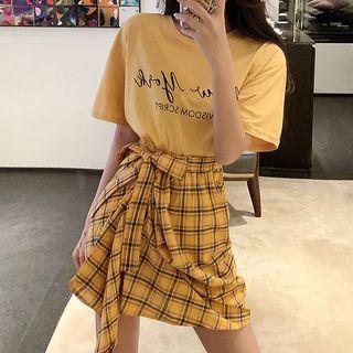 Angeville - 套裝: 短袖印字T裇 + 不對稱格子迷你裙