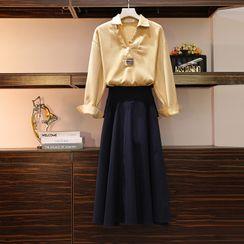 Sugar Town - Set: Long-Sleeve Overhead Shirt + Midi A-Line Skirt
