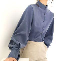 Lewwe - Mandarin Collar Lantern-Sleeve Shirt