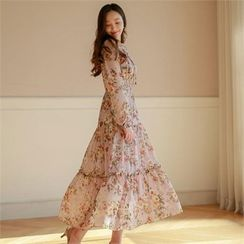 Styleberry - Floral Print Tiered Chiffon Dress