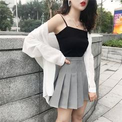 Newkoou - 长袖纯色衬衫/纯色吊带背心/高腰打褶裥裙