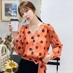 Daybreak - Polka Dot V-Neck Long-Sleeve Chiffon Blouse
