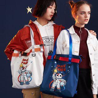 Nibby - 熊貓印花尼龍手提袋