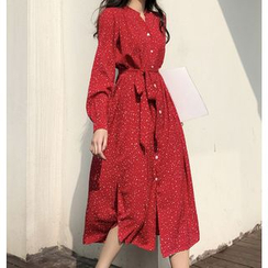 Karnel - Long-Sleeve Dotted Midi Shirt Dress