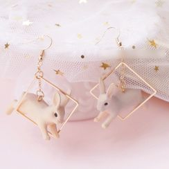 Dashiro - Rabbit Alloy Square Dangle Earring