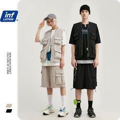 Newin - Unisex Multi-Pocket Zipper Vest / Cargo Shorts
