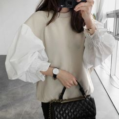 Vinales - Puff-Sleeve Two-Tone Blouse