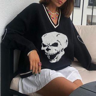 RoseRocker - Skull Print Long-Sleeve Sweater
