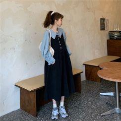 YOOKIE - 娃娃领衬衫 + 饰钮扣连衣裙