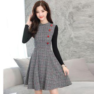 Nebbia - Long-Sleeve Paneled Plaid Mini A-Line Dress
