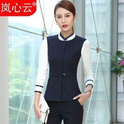 Skyheart - Pinstriped Vest / Dress Pants / Pencil Skirt / Shirt / Set