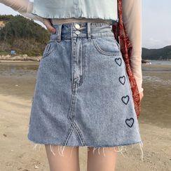 Dute - Heart Embroidered Frayed Mini A-Line Denim Skirt