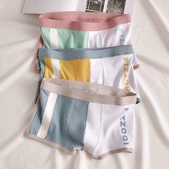 Erikai - Set of 3: Lettering Color Block Boxers
