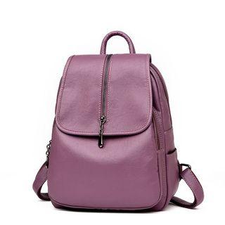 Mayanne - Genuine Leather Plain Backpack