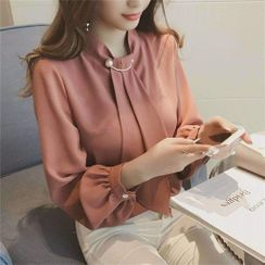 Puntino - Long-Sleeve Plain Blouse / Camisole Top