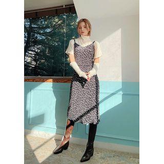chuu - Flower Pattern Midi Bustier Dress