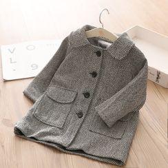 貝殼童裝 - 小童千鳥格飾鈕扣大衣