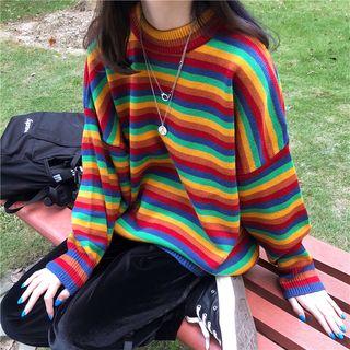 Kolge - 彩虹条纹针织上衣