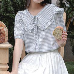 TREEZIN - Short-Sleeve Check Ruffled Blouse