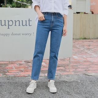 HOTPING - Washed Tapered-Leg Jeans