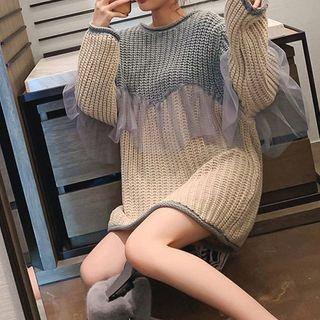 Staan - Mesh Panel Mini Sweater Dress