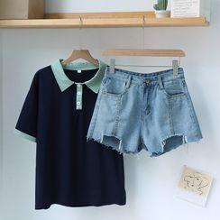 Gretchen - Short-Sleeve Embroidered Polo Shirt / Wide-Leg Denim Shorts