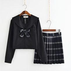 Aiyiruo - 水手领长袖上衣 / 格子打褶裥裙
