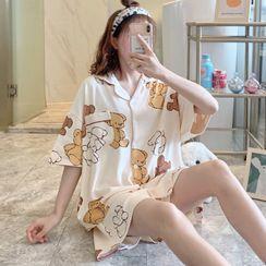 Dreamdazz - Pajama Set: Elbow-Sleeve Print Top + Shorts