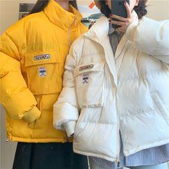 VEIST - 字母刺繡拉鏈夾棉大衣
