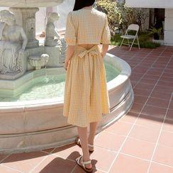 NAIN - Tie-Back Pleated Midi Gingham Dress
