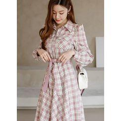Styleonme(スタイルオンミー) - Puff-Sleeve Plaid Long Flare Dress with Sash