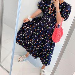 DISCOSALON - Puff-Sleeve Geo-Pattern Long Dress