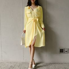 Themis - Set: Plain Long Shirt + Wrap Skirt