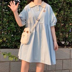 Usorro - Elbow-Sleeve Polo-Neck Mini A-Line Dress