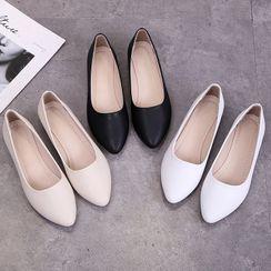 Belbie(ベルビー) - Plain Faux Leather Flats