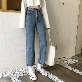Shinsei - 高腰直筒九分牛仔裤