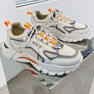 YERGO - Lettering Paneled Platform Sneakers