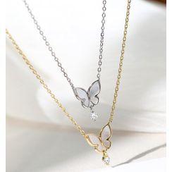 Blinglitz - 925 Sterling Silver Rhinestone Shell Butterfly Pendant Necklace