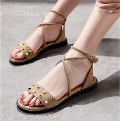 Freesia(フリージア) - Studded Cross Strap Sandals