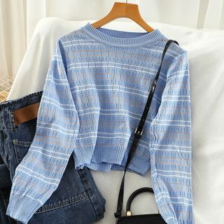 Miss Puff - Long-Sleeve Cropped Striped Knit Top