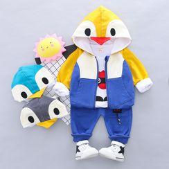 Mini Bae - 小童套装: 企鹅连帽衫 + 印花T裇 + 牛仔裤