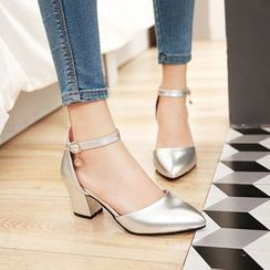 YOUIN - Faux-Leather Chunky-Heel Sandals