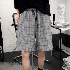 Mr. Wordy - Drawstring-Waist Plaid Straight-Cut Shorts