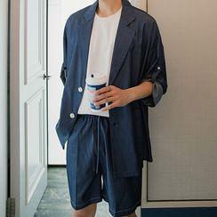 CHIC ERRO  - Set: 3/4-Sleeve Blazer + High-Waist Shorts