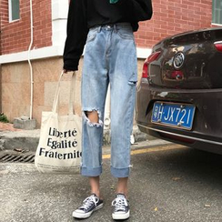 Mikiko - Distressed Cropped Straight-Cut Jeans