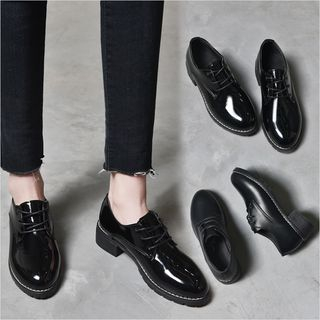 Arpeggi - Low Heel Faux-Leather Oxford Shoes