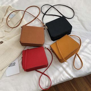 Road to Love - Faux Leather Flap Crossbody Bag