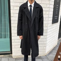 Seoul Homme - Raglan-Sleeve Double-Breasted Trench Coat With Sash